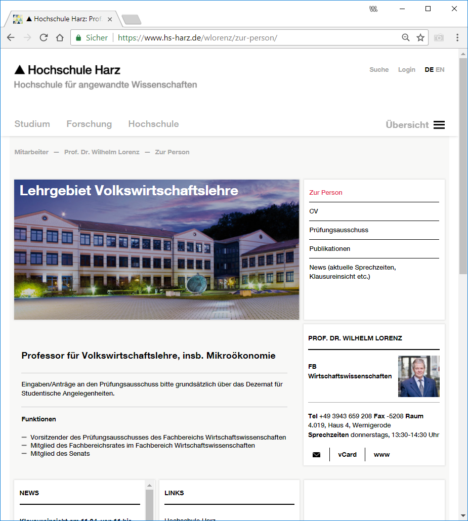 Homepage HS-Harz